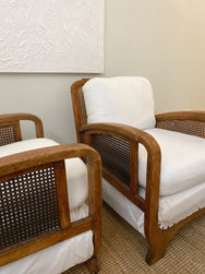 Pair of Jacobean Rattan Armchairs