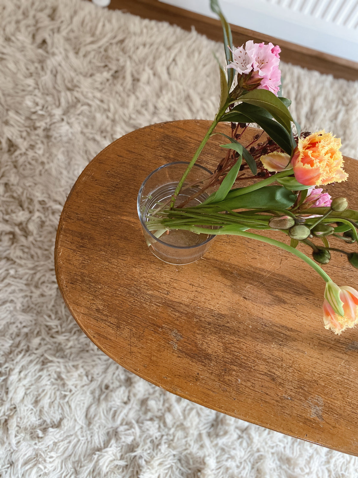 Oval Wooden Coffee Table with Cane Detailing