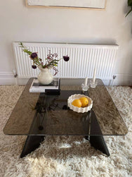 Glass Coffee Table with Geometric Wooden Base