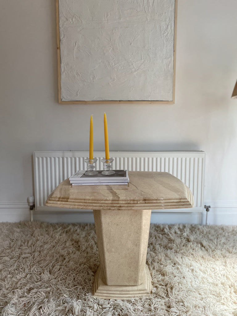 Marble Side Table with Bevelled Edge