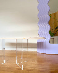 Custom Curvy Pink Marble & Perspex Coffee Table