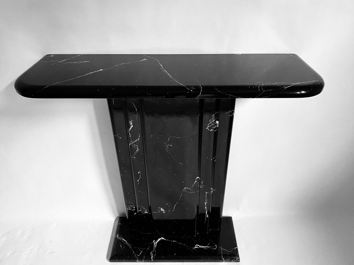 Black Marble-lacquered Console Table