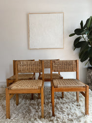 Set of Four Woven Cord Timber Dining Chairs