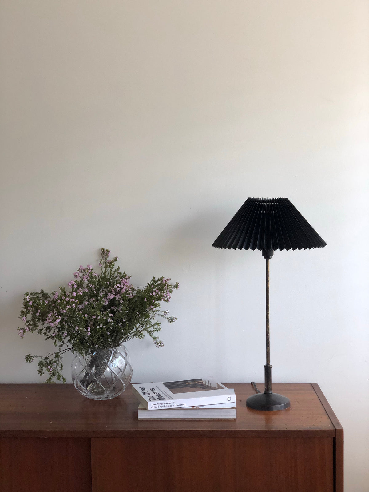 Minimalist Antique Bronze Lamp with Pleated Shade