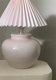 Plump Mauve Lamp With Pink Shade