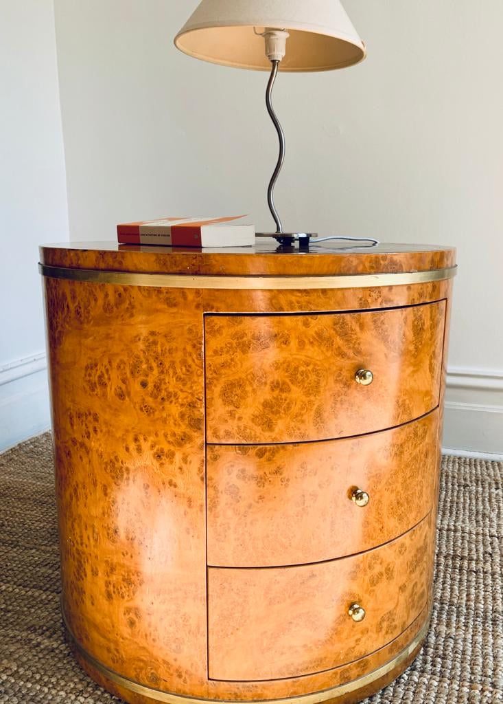 Large Burl Drum Side Table