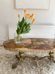 Marble Terrazzo Coffee Table with Brass Base