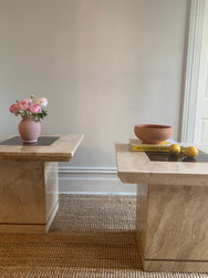 Travertine and Chocolate Marble Side Tables