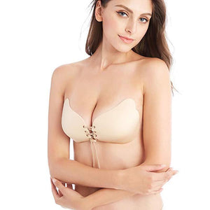 Drawstring Backless Adhesive Invisible Push Up Bra (Strapless, Reusable, Skin-Friendly)