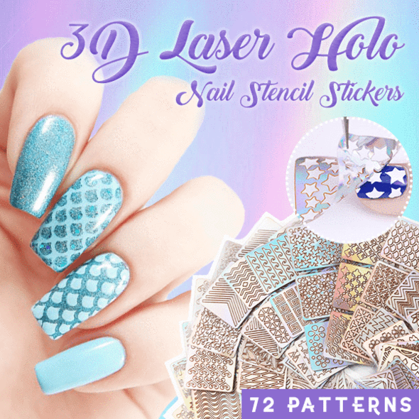 Laser Holo Nail Stencil Stickers Set