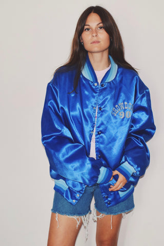 Showdown Blue Silky Baseball Jacket