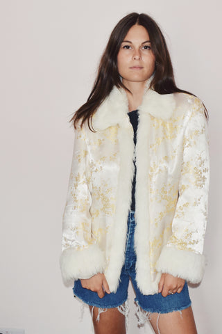 White Cherry Blossom Jacket with Faux Fur Detail