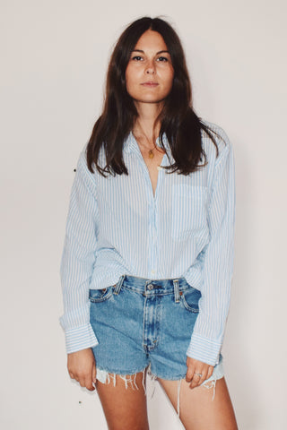 Super Lightweight Baby Blue + White Striped Shirt