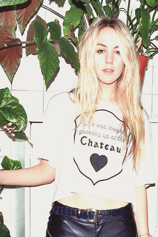Life Was Tough Growing Up At The Chateau loose boxy tee in white