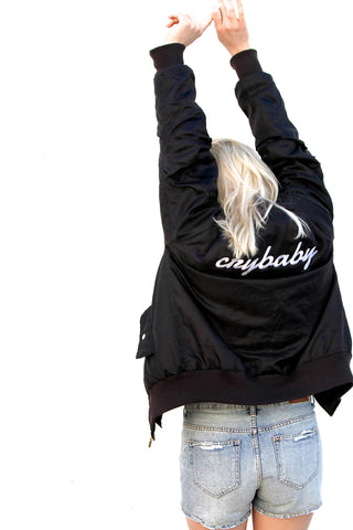 <3 PERSONALISED London Loves LA Embroidered Bomber Jacket <3
