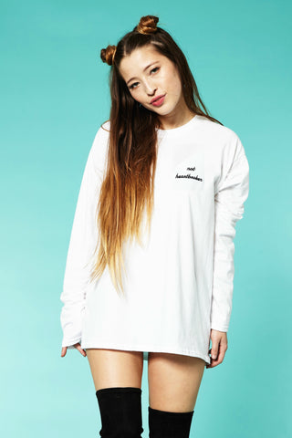 Not Heartbroken tee in White Long Sleeve