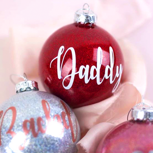 Personalised Name Glass Glitter Christmas Baubles