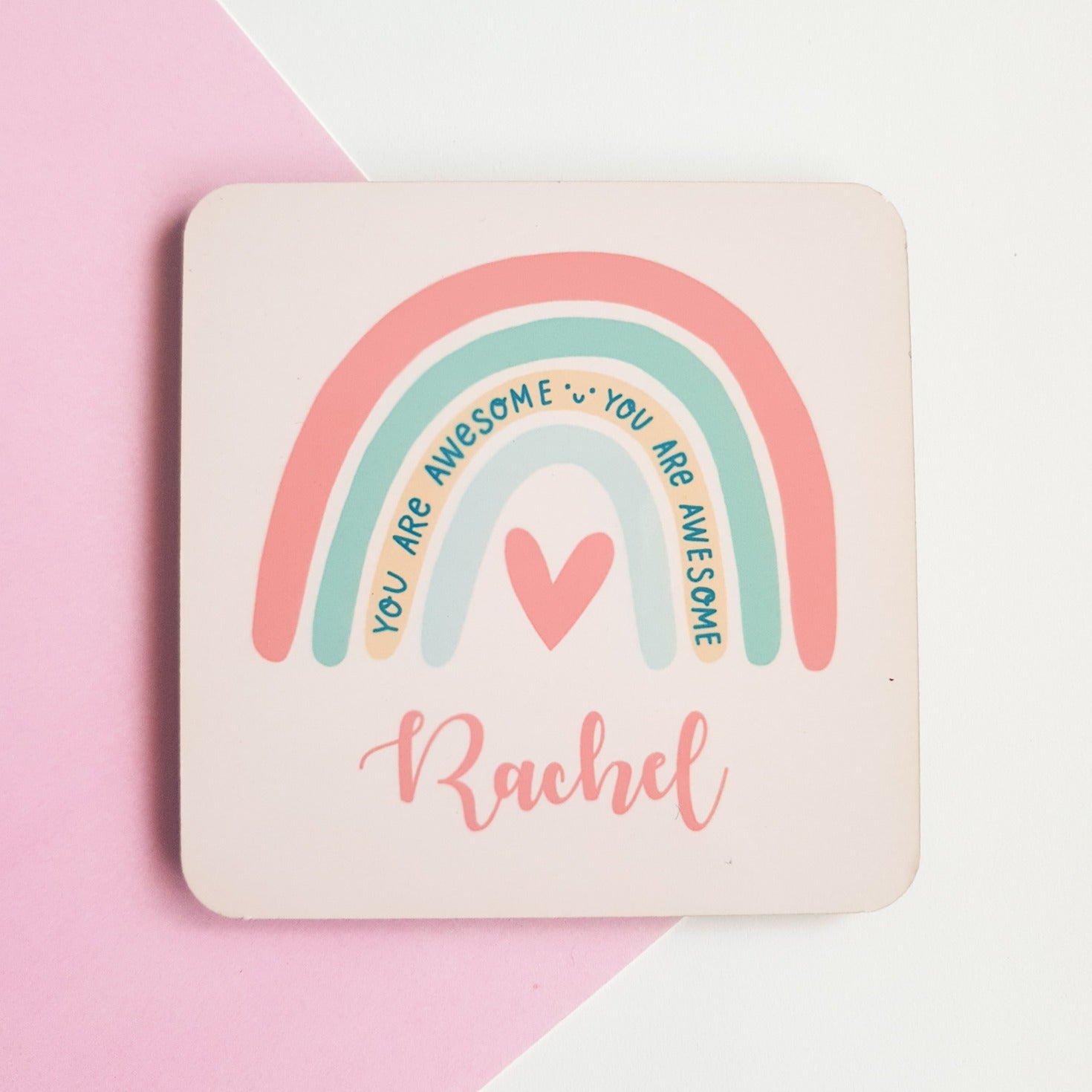 Personalised You Are Awesome Rainbow Coaster
