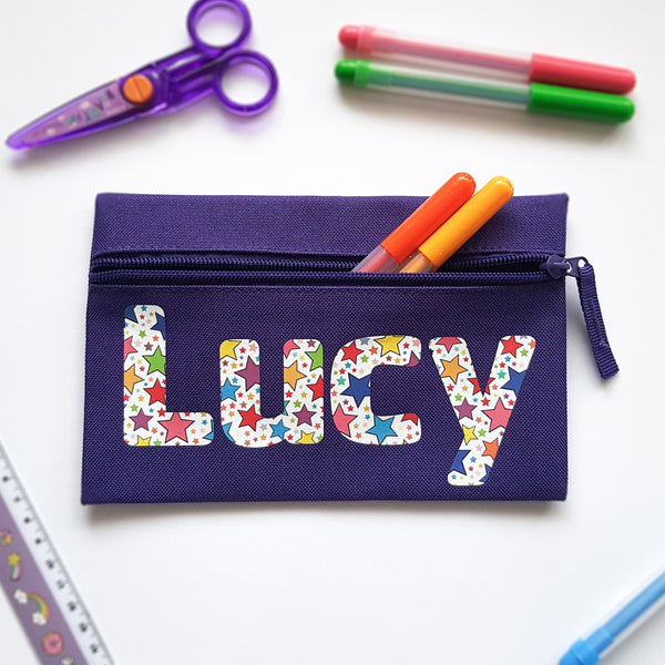 Star Print Personalised Pencil Case Child