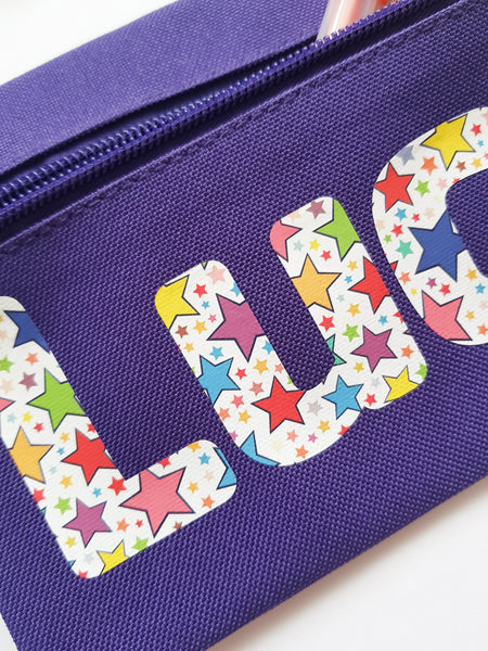 Star Print Personalised Childs Pencil Case