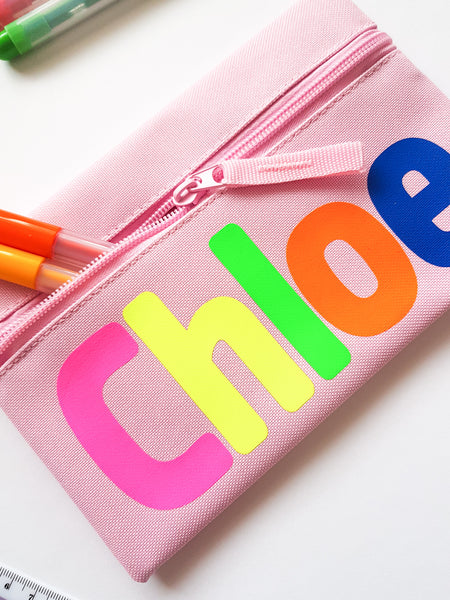 Neon Personalised Pencil Case Child