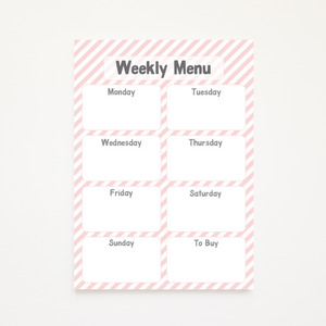 A5 Magnetic Pink Striped Weekly Menu Planner