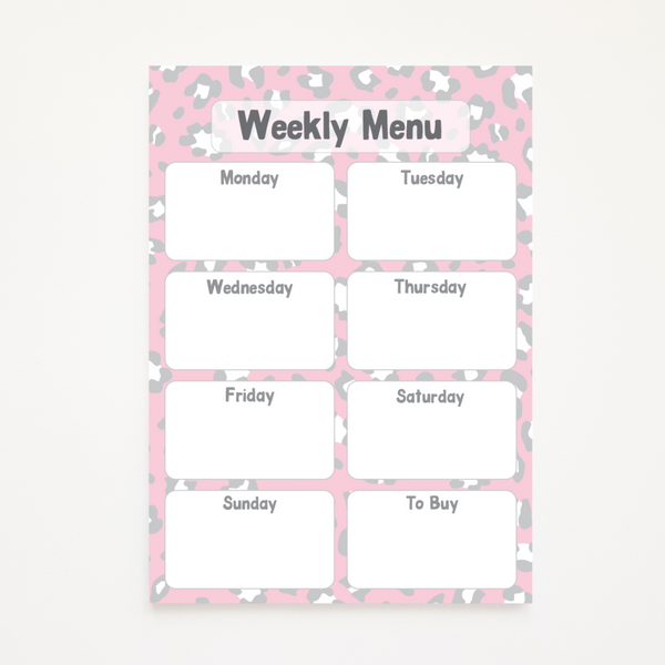 A5 Magnetic Animal Print Weekly Menu Planner