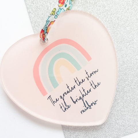 Rainbow Acrylic Heart Decoration with Liberty Print Ribbon