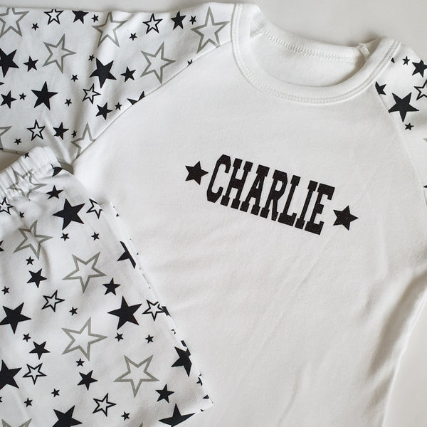 Personalised Black Star Print Children's Pyjama Set
