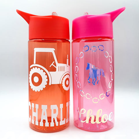 Personalised Childrens Water Bottles Red Pink Green Blue Purple Rachel J Designs