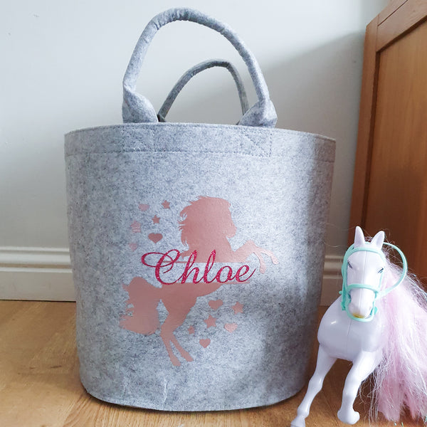 Personalised Felt Horse Toy Storage Baskets