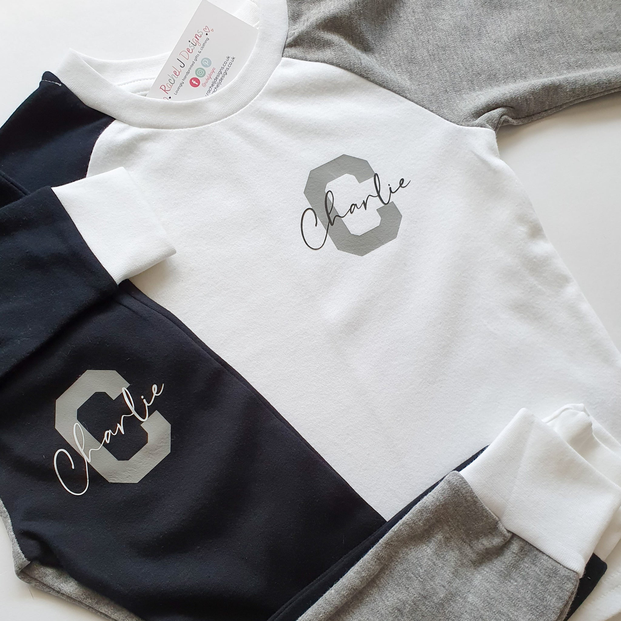 Monochrome Personalised Children's Loungewear Sets Rachel J Designs