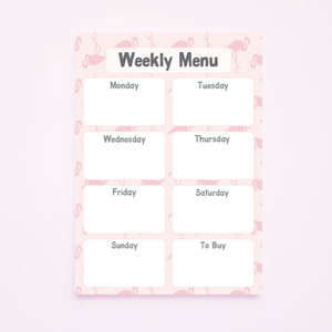 A5 Magnetic Flamingo Print Weekly Menu Planner
