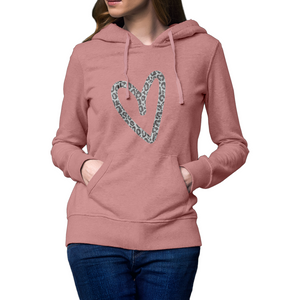 Ladies Heart Print Hoodie Rachel J Designs