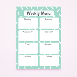 A5 Magnetic Green Confetti Print Weekly Menu Planner