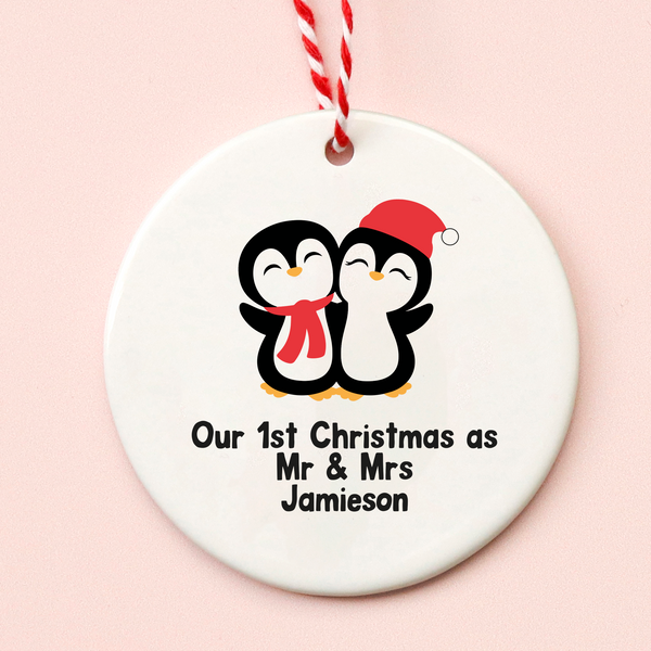 First Christmas Mr & Mrs Penguin Decoration