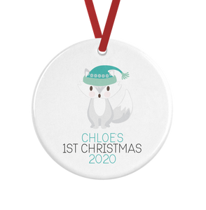 Personalised Baby's First Christmas Artic Fox Decoration