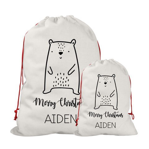 Personalised Linen Bear Santa/Gift Sacks (2 Sizes Available) Rachel J Designs
