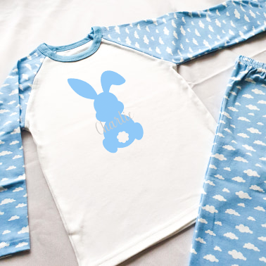 Personalised Easter Bunny Blue Cloud Pyjamas