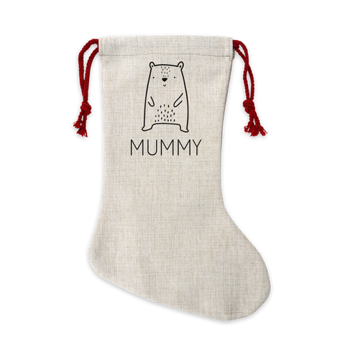 Personalised Bear Linen Stocking
