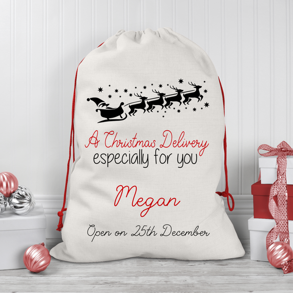 Personalised Santa Sleigh  Linen Santa/Gift Sacks (2 Sizes Available) Rachel J Desings
