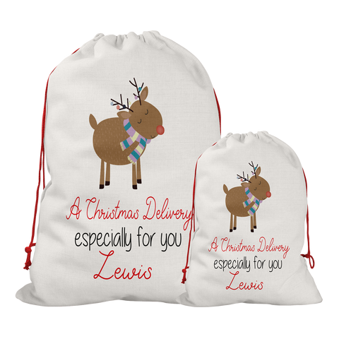 Copy of Personalised Linen Colourful Reindeer Santa/Gift Sacks (2 Sizes Available) Rachel J Designs