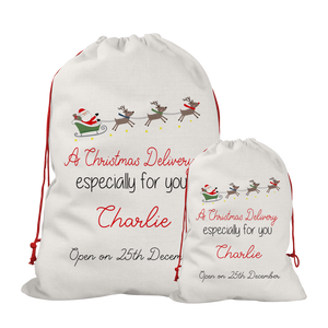 Personalised Linen Colourful Santa Sleigh Santa/Gift Sacks (2 Sizes Available)