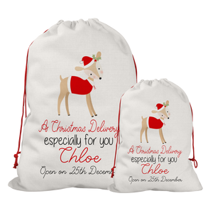 Copy of Copy of Personalised Linen Colourful Reindeer Santa/Gift Sacks (2 Sizes Available) Rachel J Designs