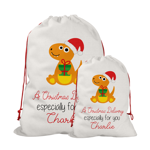 Personalised Linen Dinosaur Santa/Gift Sacks (2 Sizes Available) Rachel J Designs