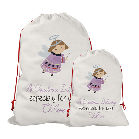 Personalised Linen Fairy Santa/Gift Sacks (2 Sizes Available) Rachel J Designs