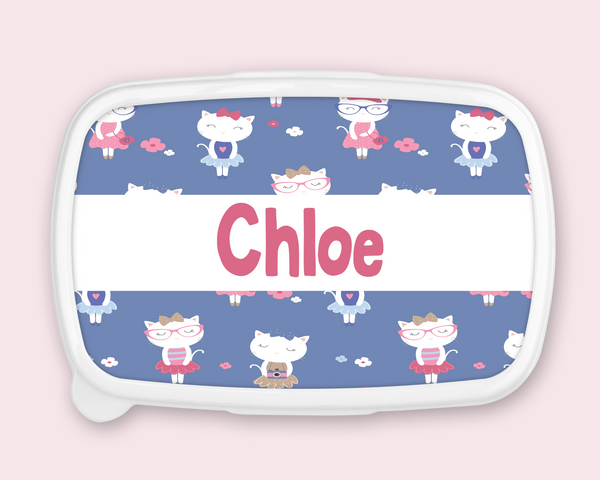 Personalised French Cat Print Lunch Box