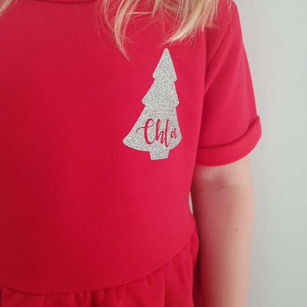 Personalised Cotton Fleece lined Girls/Toddler Christmas Tree Dress, Clothing, Rachel J Designs