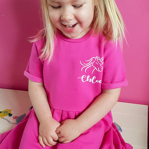 Personalised Cotton Fleece lined Unicorn Girls/Toddler Dress