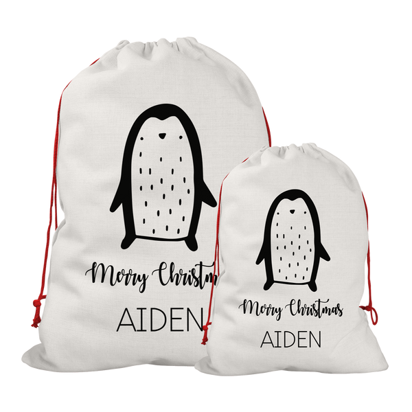 Copy of Personalised Linen Penguin Santa/Gift Sacks (2 Sizes Available)
